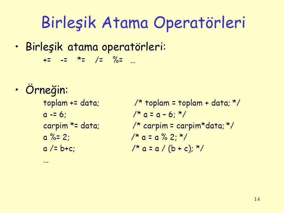 14 Birleşik Atama Operatörleri Birleşik atama operatörleri: += -= *= /= %= … Örneğin: toplam += data; /* toplam = toplam + data; */ a -= 6; /* a = a – 6; */ carpim *= data; /* carpim = carpim*data; */ a %= 2; /* a = a % 2; */ a /= b+c; /* a = a / (b + c); */ …