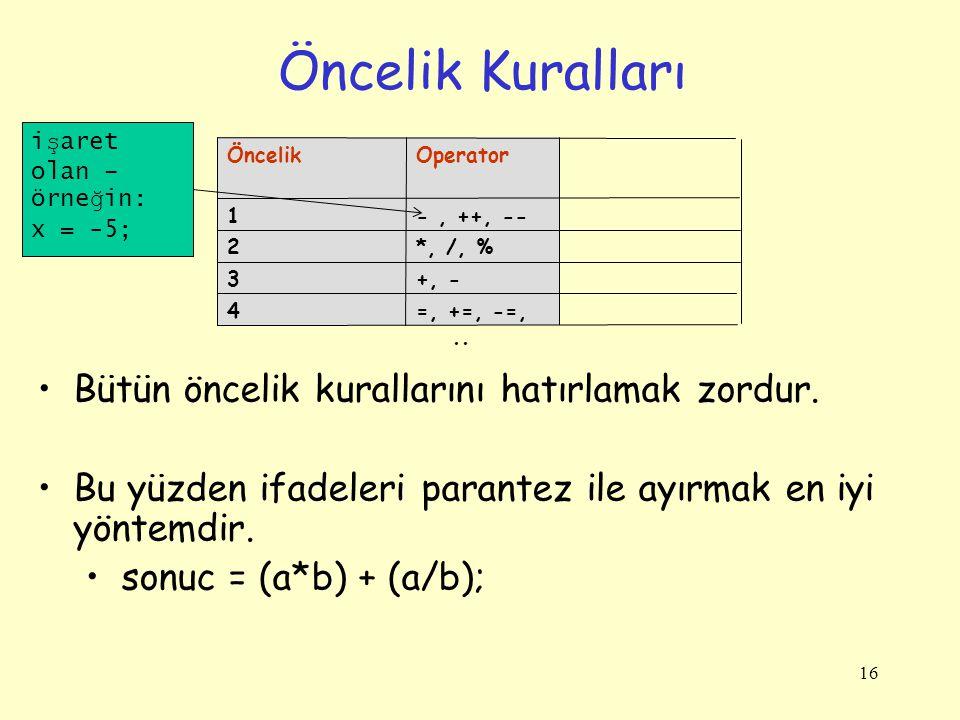 16 Öncelik Kuralları =, +=, -=,..