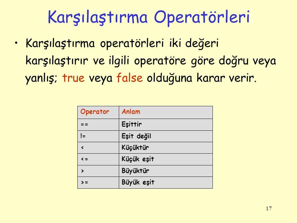 17 Karşılaştırma Operatörleri Karşılaştırma operatörleri iki değeri karşılaştırır ve ilgili operatöre göre doğru veya yanlış; true veya false olduğuna karar verir.