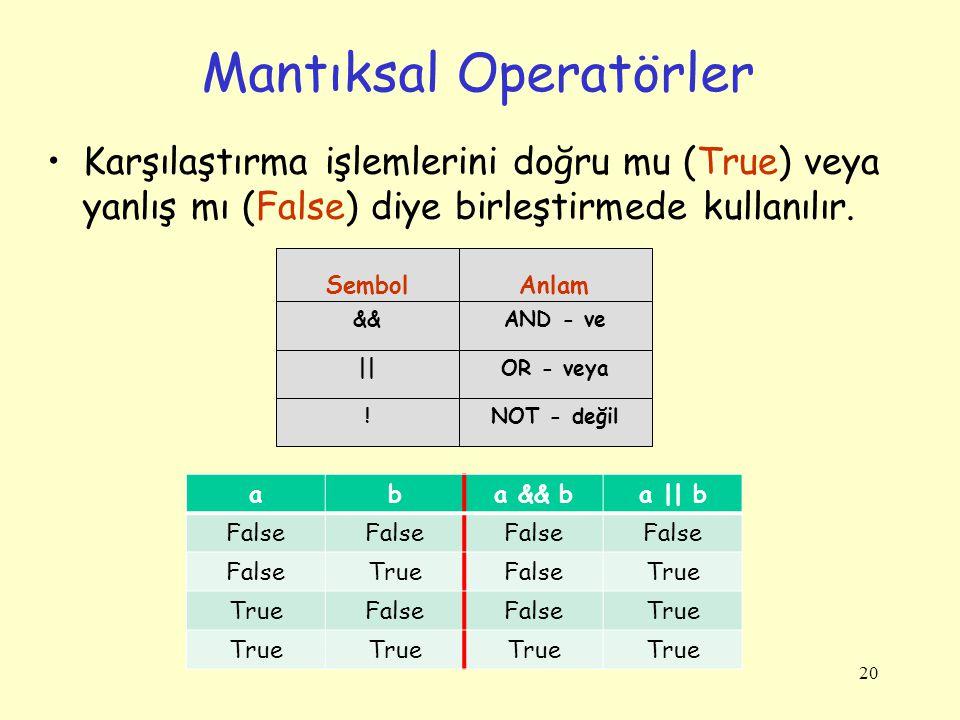 20 Mantıksal Operatörler Karşılaştırma işlemlerini doğru mu (True) veya yanlış mı (False) diye birleştirmede kullanılır.
