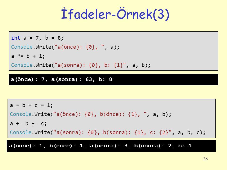 26 İfadeler-Örnek(3) int a = 7, b = 8; Console.Write( a(önce): {0}, , a); a *= b + 1; Console.Write( a(sonra): {0}, b: {1} , a, b); a = b = c = 1; Console.Write( a(önce): {0}, b(önce): {1}, , a, b); a += b += c; Console.Write( a(sonra): {0}, b(sonra): {1}, c: {2} , a, b, c); a(önce): 7, a(sonra): 63, b: 8 a(önce): 1, b(önce): 1, a(sonra): 3, b(sonra): 2, c: 1