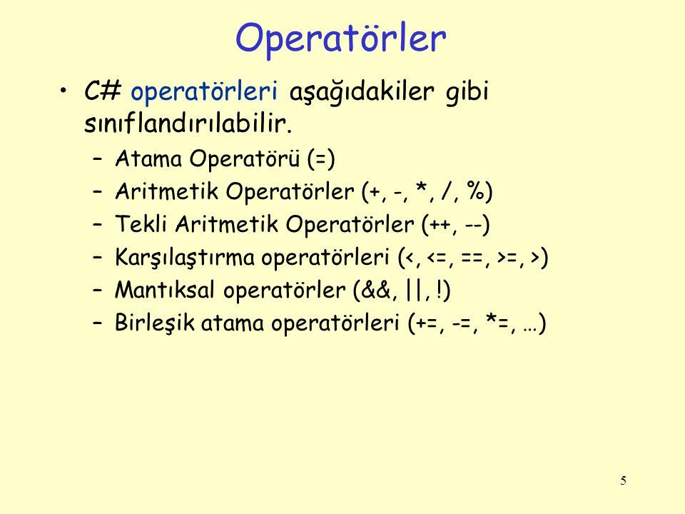 Operatörler C# operatörleri aşağıdakiler gibi sınıflandırılabilir.
