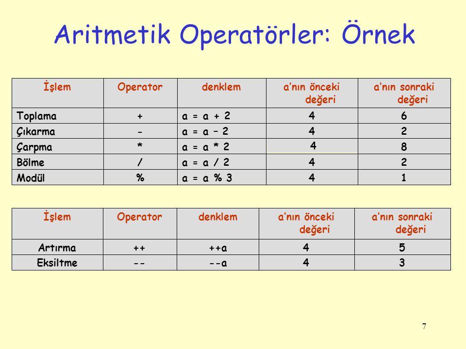 7 Aritmetik Operatörler: Örnek 14a = a % 3%Modül 24a = a / 2/Bölme 8 4 a = a * 2*Çarpma 24a = a – 2-Çıkarma 64a = a + 2+Toplama a'nın sonraki değeri a'nın önceki değeri denklemOperatorİşlem 34--a--Eksiltme 54++a++Artırma a'nın sonraki değeri a'nın önceki değeri denklemOperatorİşlem