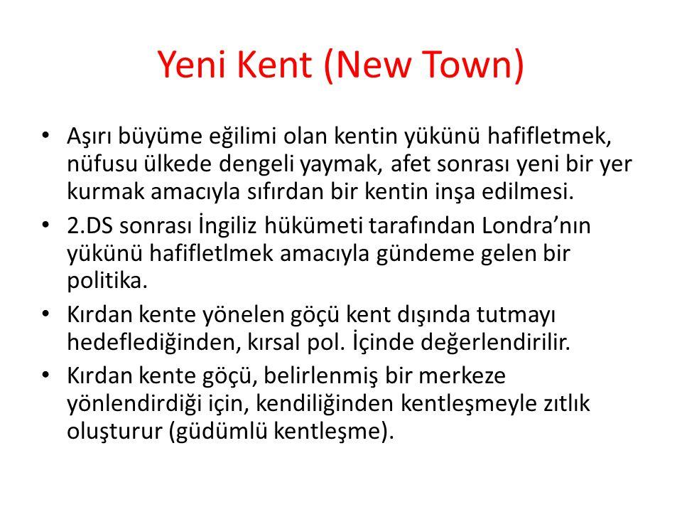 Yeni Kent (New Town) Aşırı büyüme eğilimi olan kentin yükünü hafifletmek, nüfusu ülkede dengeli yaymak, afet sonrası yeni bir yer kurmak amacıyla sıfı