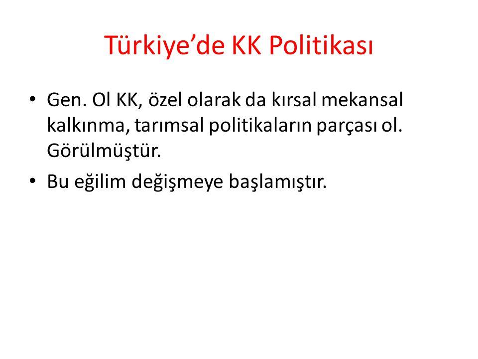 Türkiye'de KK Politikası Gen. Ol KK, özel olarak da kırsal mekansal kalkınma, tarımsal politikaların parçası ol. Görülmüştür. Bu eğilim değişmeye başl