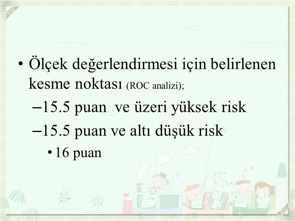 Ölçek değerlendirmesi için belirlenen kesme noktası (ROC analizi); – 15.5 puan ve üzeri yüksek risk – 15.5 puan ve altı düşük risk 16 puan