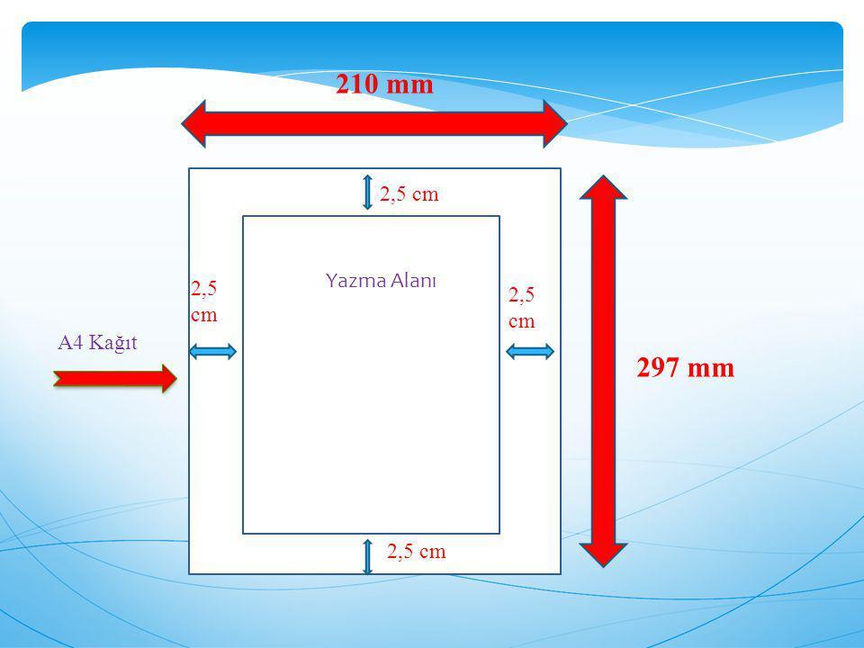 210 mm 297 mm 2,5 cm Yazma Alanı A4 Kağıt