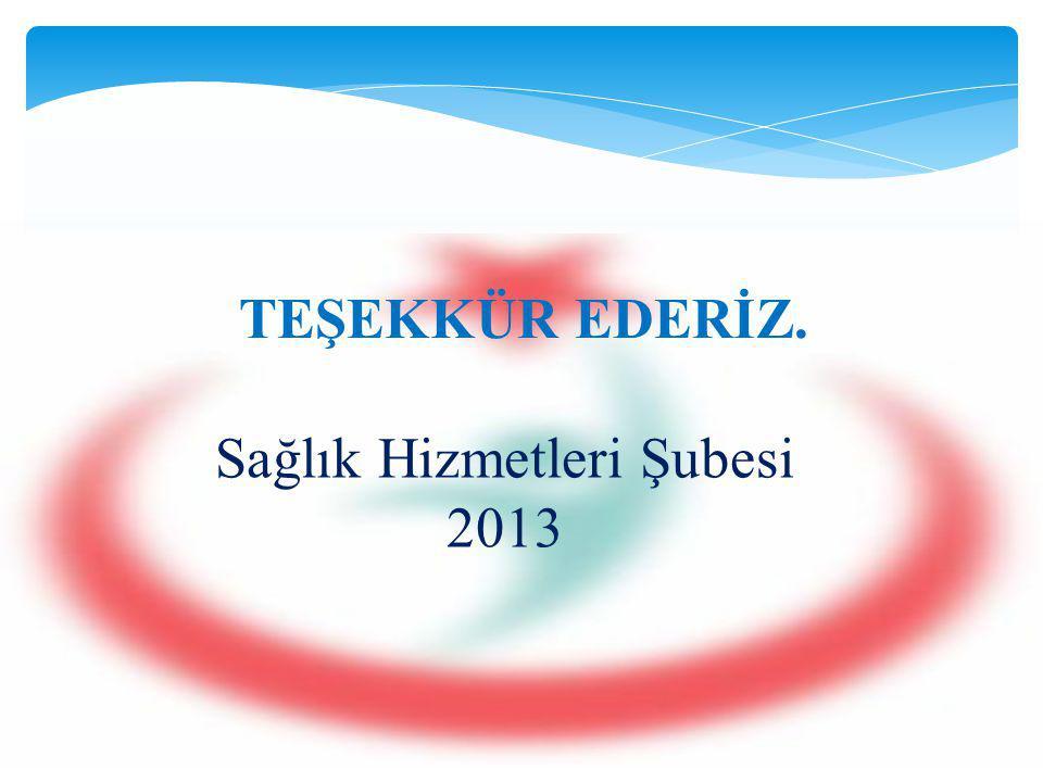 TEŞEKKÜR EDERİZ. Sağlık Hizmetleri Şubesi 2013