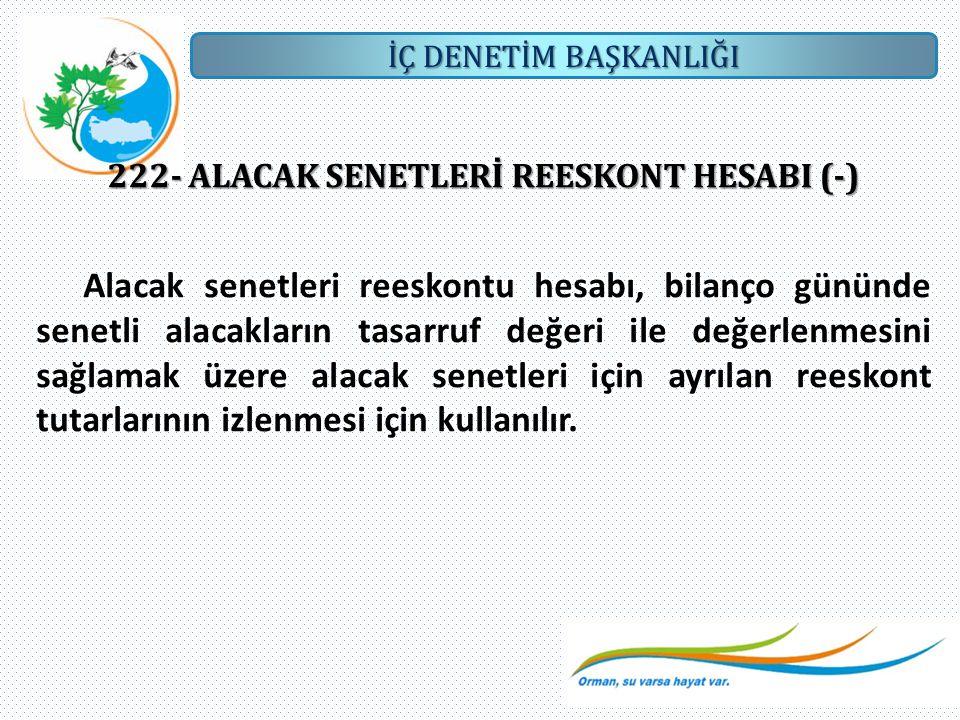 İÇ DENETİM BAŞKANLIĞI 222- ALACAK SENETLERİ REESKONT HESABI (-) Alacak senetleri reeskontu hesabı, bilanço gününde senetli alacakların tasarruf değeri