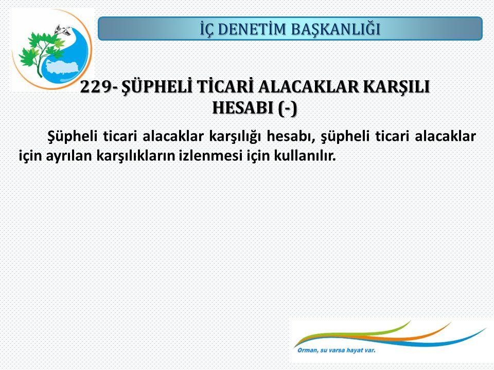 İÇ DENETİM BAŞKANLIĞI 229- ŞÜPHELİ TİCARİ ALACAKLAR KARŞILI HESABI (-) Şüpheli ticari alacaklar karşılığı hesabı, şüpheli ticari alacaklar için ayrıla