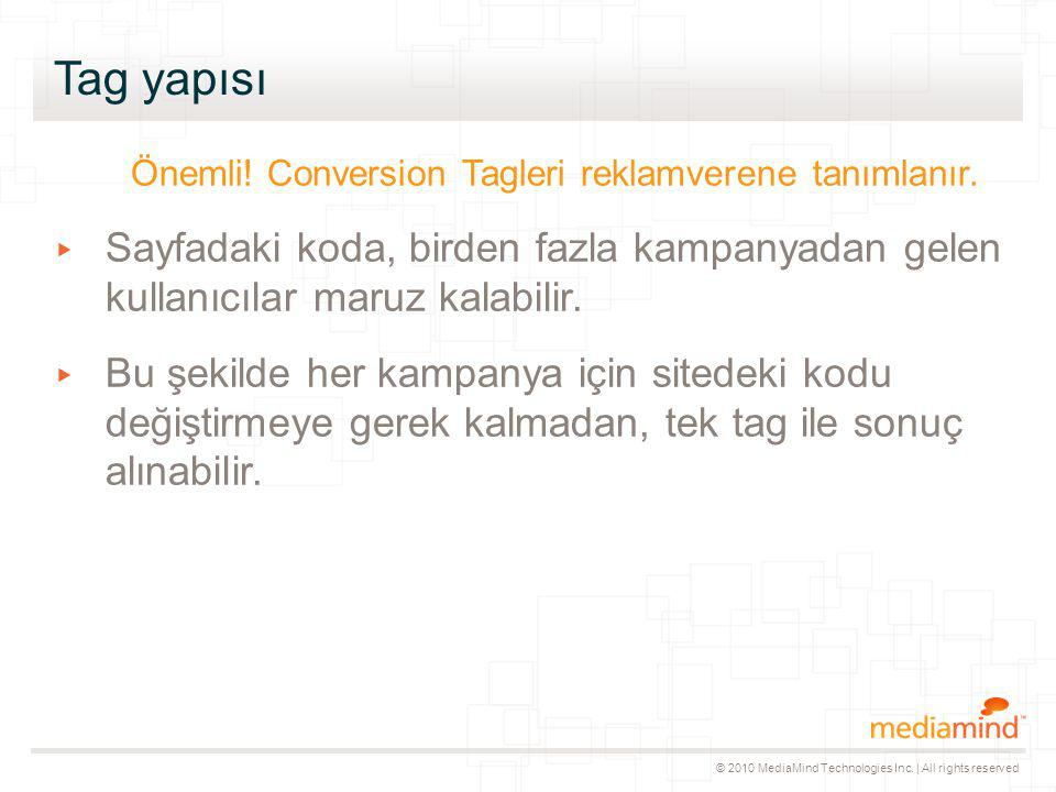 © 2010 MediaMind Technologies Inc. | All rights reserved Tag yapısı Önemli.