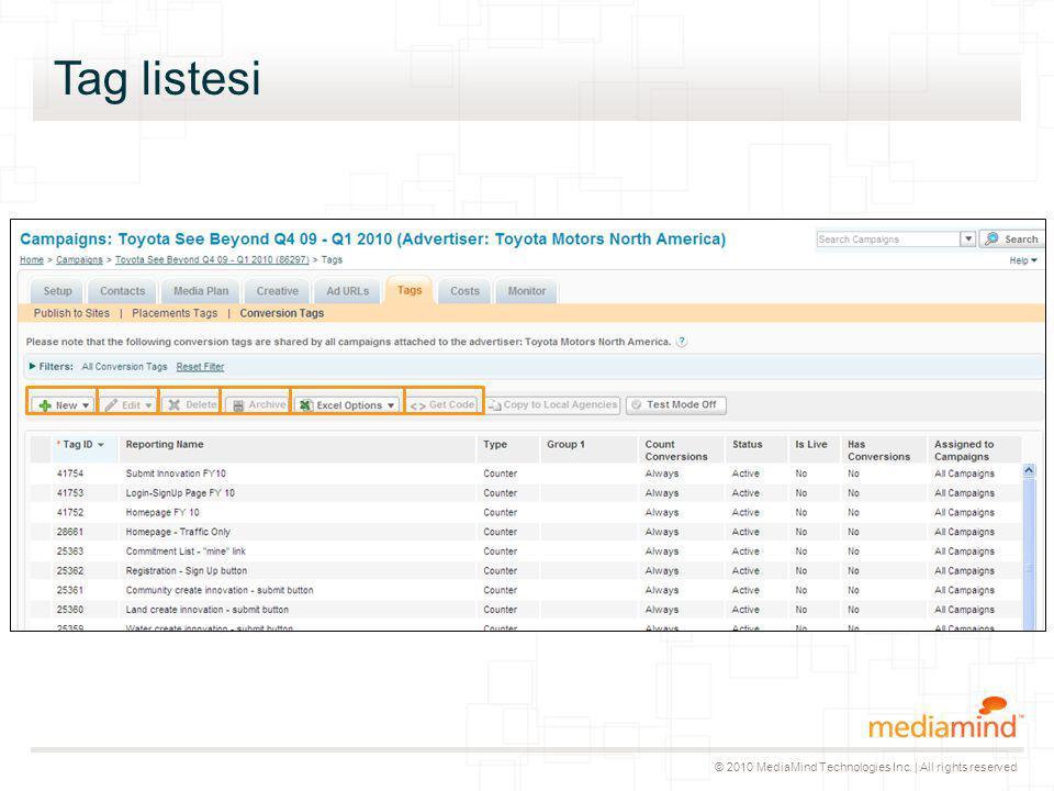 © 2010 MediaMind Technologies Inc. | All rights reserved Tag listesi