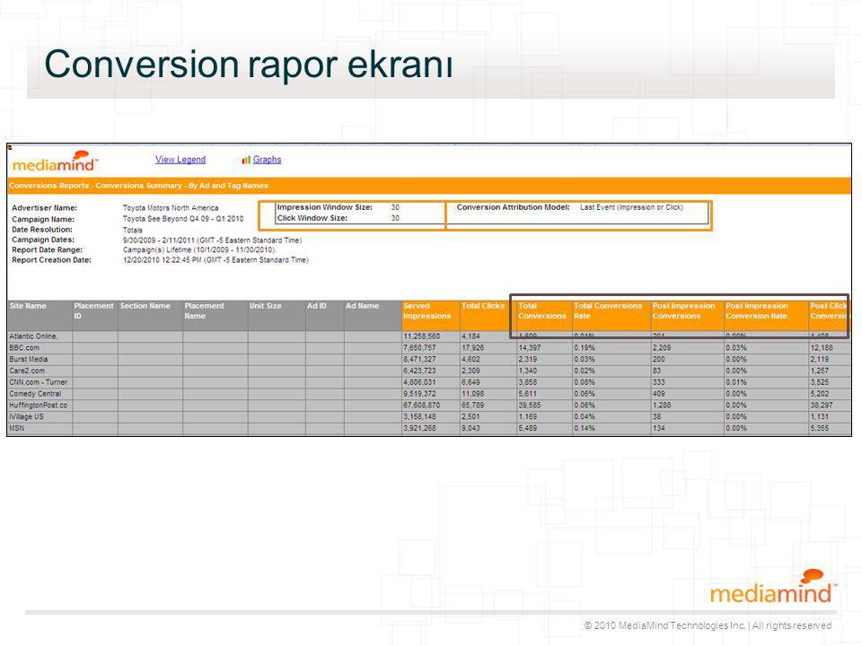 © 2010 MediaMind Technologies Inc. | All rights reserved Conversion rapor ekranı