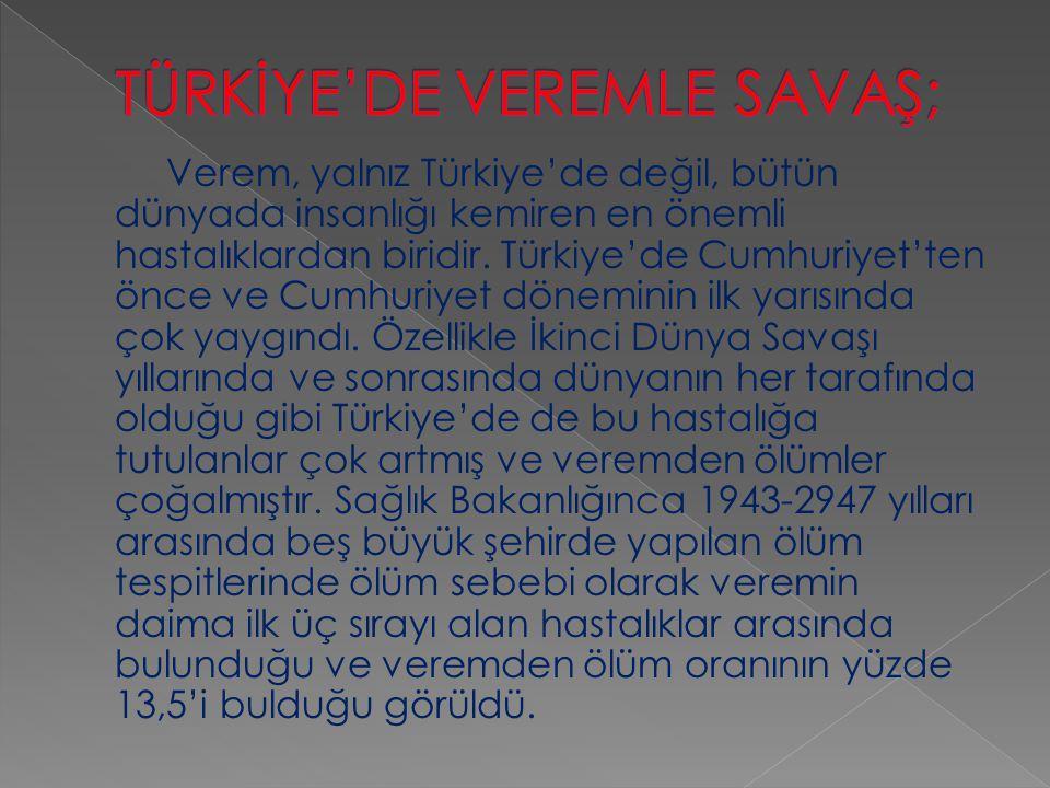 Verem, yalnız Türkiye'de değil, bütün dünyada insanlığı kemiren en önemli hastalıklardan biridir. Türkiye'de Cumhuriyet'ten önce ve Cumhuriyet dönemin
