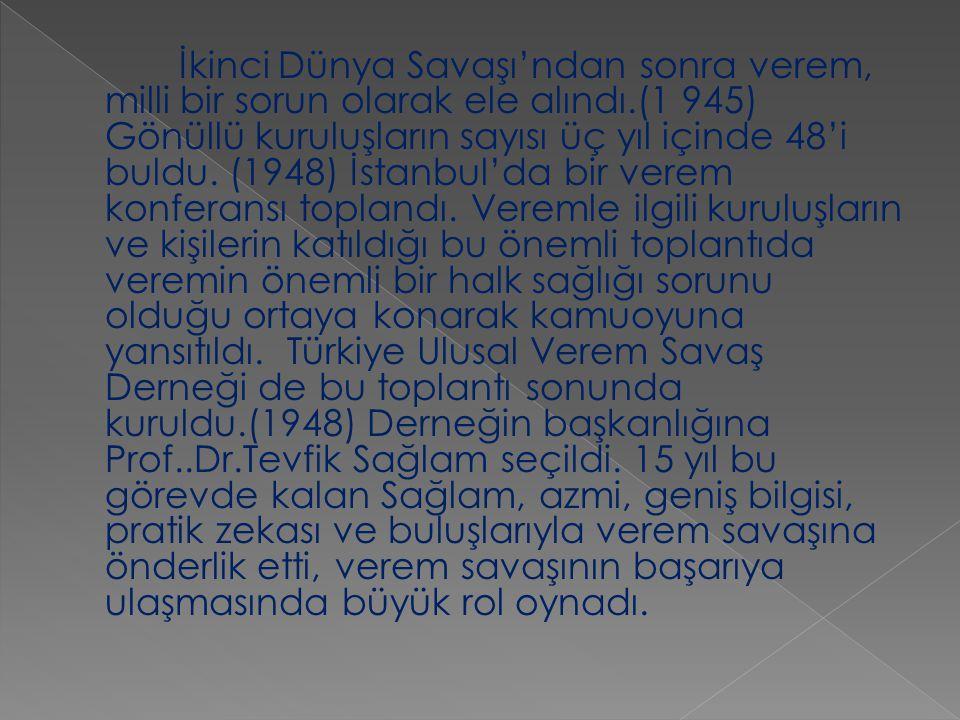 İkinci Dünya Savaşı'ndan sonra verem, milli bir sorun olarak ele alındı.(1 945) Gönüllü kuruluşların sayısı üç yıl içinde 48'i buldu. (1948) İstanbul'