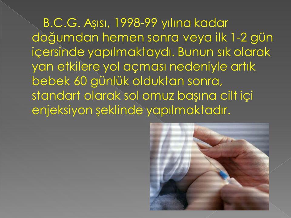 B.C.G. Aşısı, 1998-99 yılına kadar doğumdan hemen sonra veya ilk 1-2 gün içersinde yapılmaktaydı. Bunun sık olarak yan etkilere yol açması nedeniyle a