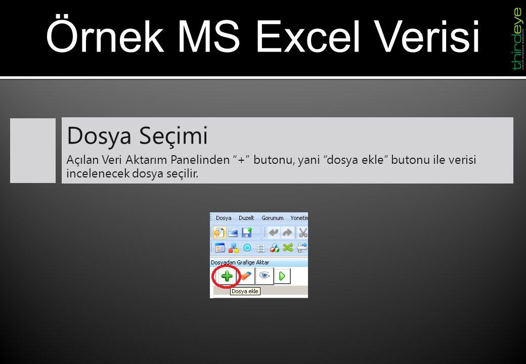 """Örnek MS Excel Verisi Dosya Seçimi Açılan Veri Aktarım Panelinden """"+"""" butonu, yani """"dosya ekle"""" butonu ile verisi incelenecek dosya seçilir."""