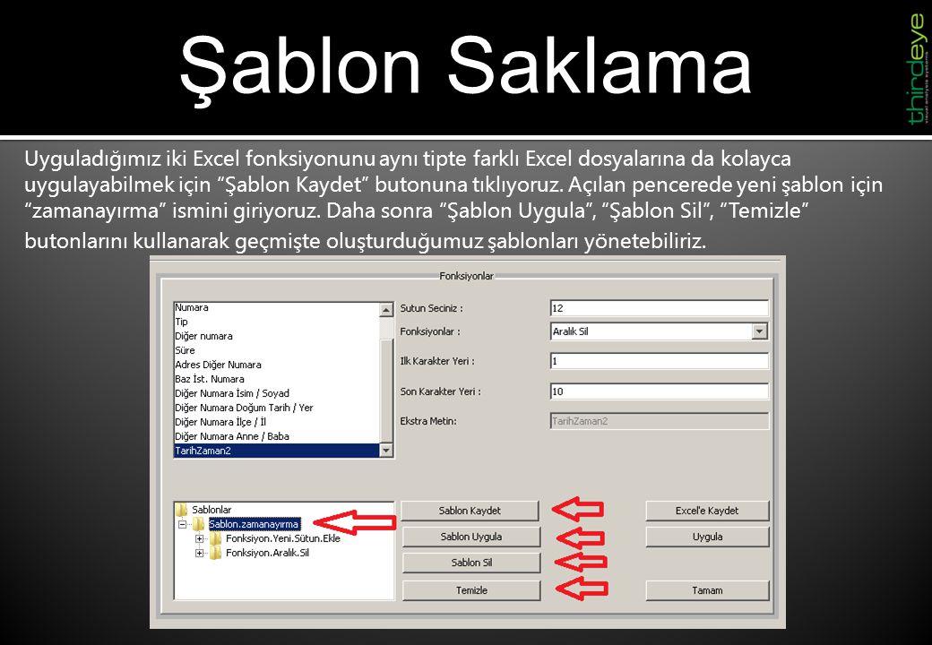 Profil Oluşturma-1 Yaptığımız örnek çalışmayı kaydetmek için Excel'e Kaydet butonuna tıklayarak yarıda bıraktığımız herhangi bir çalışmayı ileride yeniden açmak üzere kaydedebiliriz.