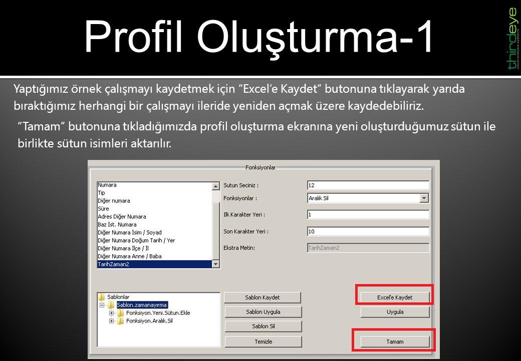 """Profil Oluşturma-1 Yaptığımız örnek çalışmayı kaydetmek için """"Excel'e Kaydet"""" butonuna tıklayarak yarıda bıraktığımız herhangi bir çalışmayı ileride y"""