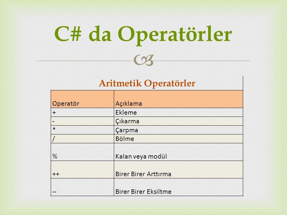  Aritmetik Operatörler OperatörAçıklama +Ekleme -Çıkarma *Çarpma /Bölme %Kalan veya modül ++Birer Birer Arttırma --Birer Birer Eksiltme C# da Operatö