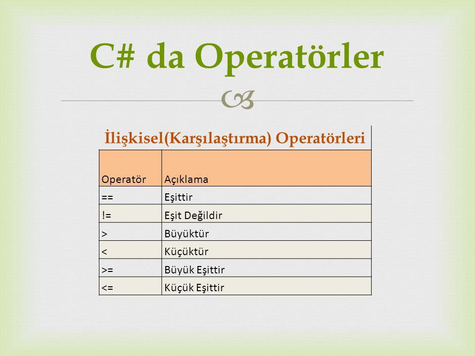  İlişkisel(Karşılaştırma) Operatörleri OperatörAçıklama ==Eşittir !=Eşit Değildir > Büyüktür < Küçüktür >=Büyük Eşittir <=Küçük Eşittir C# da Operatö