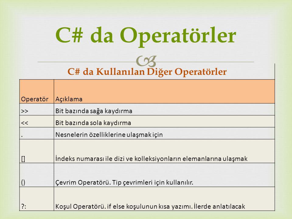  C# da Kullanılan Diğer Operatörler OperatörAçıklama >> Bit bazında sağa kaydırma << Bit bazında sola kaydırma.Nesnelerin özelliklerine ulaşmak için