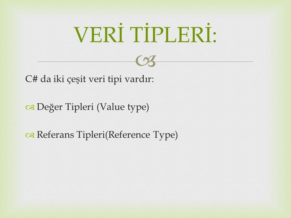  C# da iki çeşit veri tipi vardır:  Değer Tipleri (Value type)  Referans Tipleri(Reference Type) VERİ TİPLERİ: