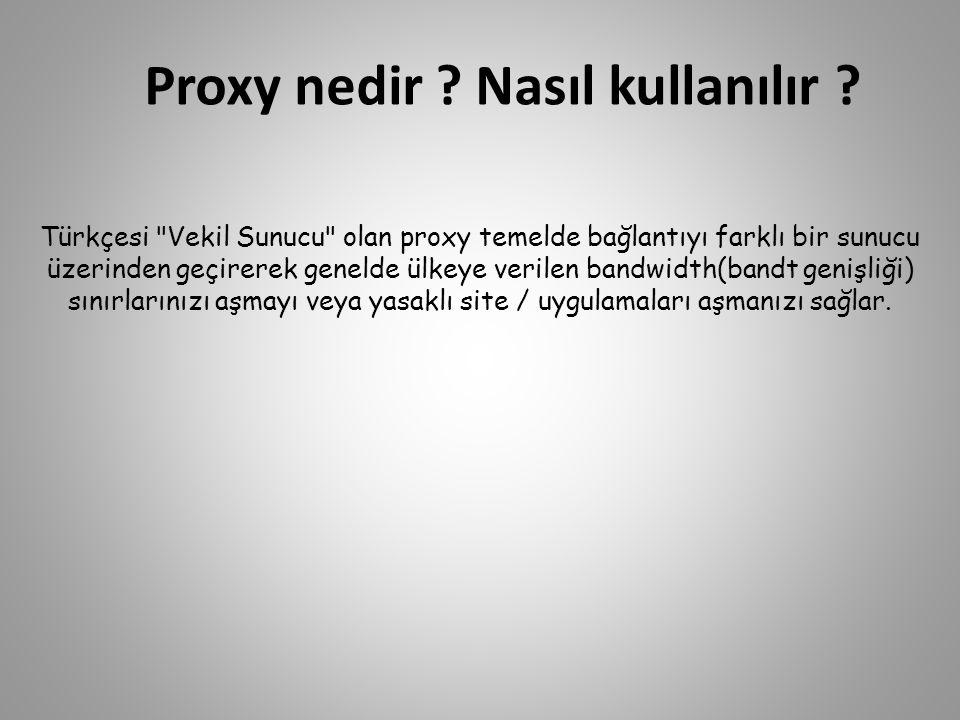 Proxy nedir ? Nasıl kullanılır ? Türkçesi