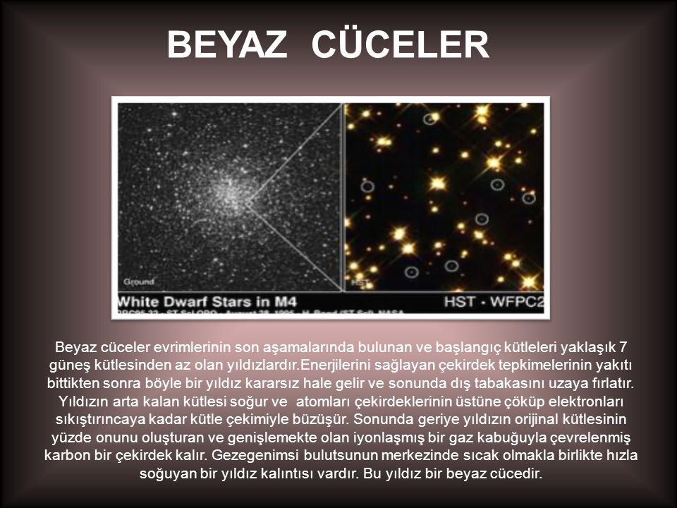 BEYAZ CÜCELER Beyaz cüceler evrimlerinin son aşamalarında bulunan ve başlangıç kütleleri yaklaşık 7 güneş kütlesinden az olan yıldızlardır.Enerjilerini sağlayan çekirdek tepkimelerinin yakıtı bittikten sonra böyle bir yıldız kararsız hale gelir ve sonunda dış tabakasını uzaya fırlatır.
