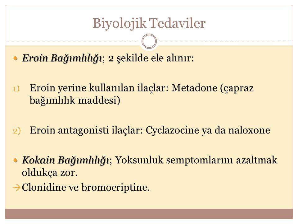 Biyolojik Tedaviler Eroin Bağımlılığı Eroin Bağımlılığı; 2 şekilde ele alınır: 1) Eroin yerine kullanılan ilaçlar: Metadone (çapraz bağımlılık maddesi