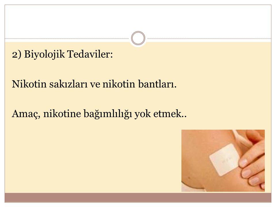 2) Biyolojik Tedaviler: Nikotin sakızları ve nikotin bantları. Amaç, nikotine bağımlılığı yok etmek..