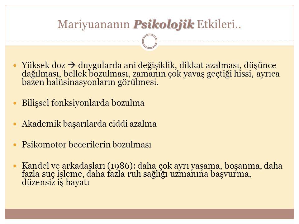 Psikolojik Mariyuananın Psikolojik Etkileri.. Yüksek doz  duygularda ani değişiklik, dikkat azalması, düşünce dağılması, bellek bozulması, zamanın ço