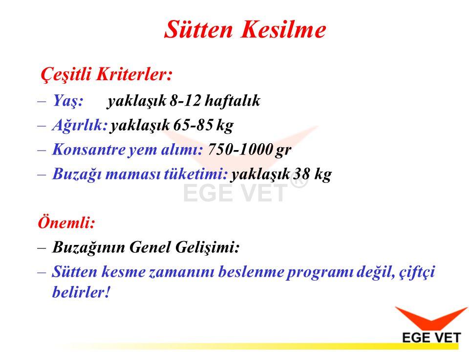 Çeşitli Kriterler: –Yaş:yaklaşık 8-12 haftalık –Ağırlık: yaklaşık 65-85 kg –Konsantre yem alımı: 750-1000 gr –Buzağı maması tüketimi: yaklaşık 38 kg Ö