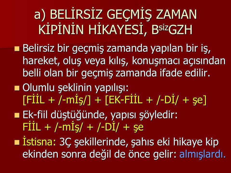 a) BELİRSİZ GEÇMİŞ ZAMAN KİPİNİN HİKAYESİ, B siz GZH İkinci kip ekinin kısaltması: B siz GZH.