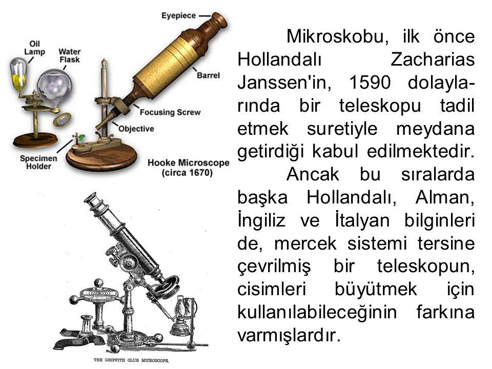 Mikroskobu, ilk önce Hollandalı Zacharias Janssen'in, 1590 dolayla- rında bir teleskopu tadil etmek suretiyle meydana getirdiği kabul edilmektedir. An