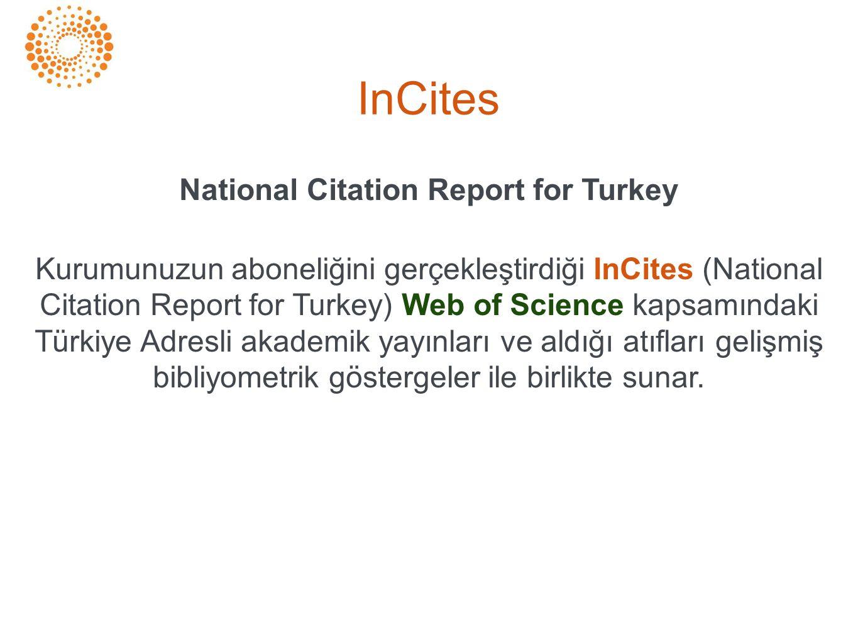 National Citation Report for Turkey Kurumunuzun aboneliğini gerçekleştirdiği InCites (National Citation Report for Turkey) Web of Science kapsamındaki Türkiye Adresli akademik yayınları ve aldığı atıfları gelişmiş bibliyometrik göstergeler ile birlikte sunar.