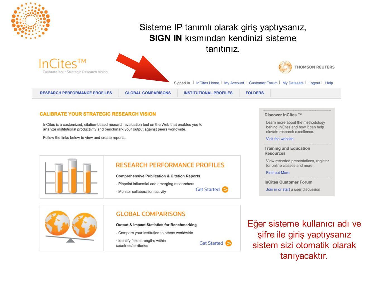 InCites National Citation Report for Turkey Research Performance Profiles ile yayınlara dair ayrıntılı raporlar görüntüleyebilir ve kendinize ait özel raporlar oluştarabilirsiniz.