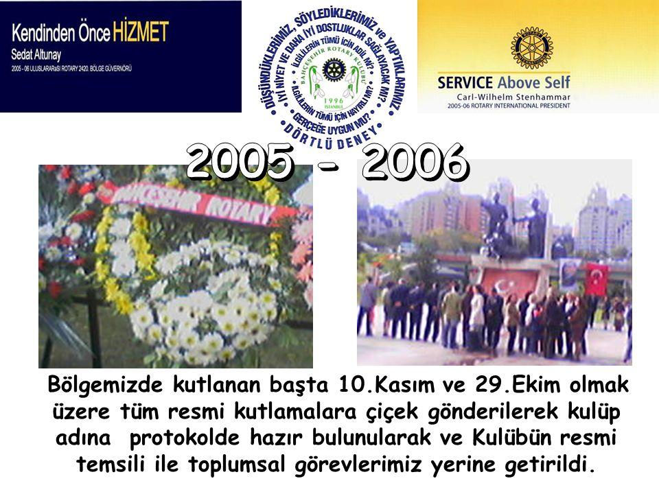 Bölgemizde kutlanan başta 10.Kasım ve 29.Ekim olmak üzere tüm resmi kutlamalara çiçek gönderilerek kulüp adına protokolde hazır bulunularak ve Kulübün