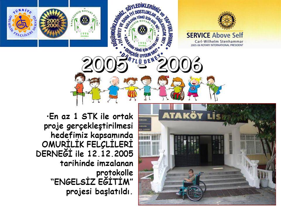 """En az 1 STK ile ortak proje gerçekleştirilmesi hedefimiz kapsamında OMURİLİK FELÇLİLERİ DERNEĞİ ile 12.12.2005 tarihinde imzalanan protokolle """"ENGELSİ"""