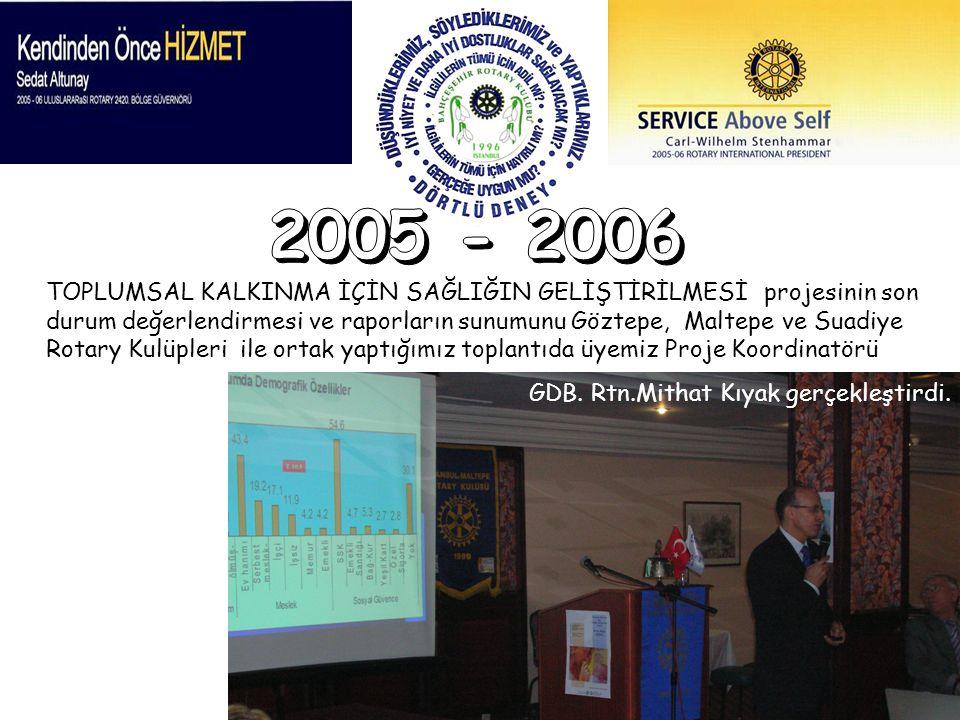 TOPLUMSAL KALKINMA İÇİN SAĞLIĞIN GELİŞTİRİLMESİ projesinin son durum değerlendirmesi ve raporların sunumunu Göztepe, Maltepe ve Suadiye Rotary Kulüple