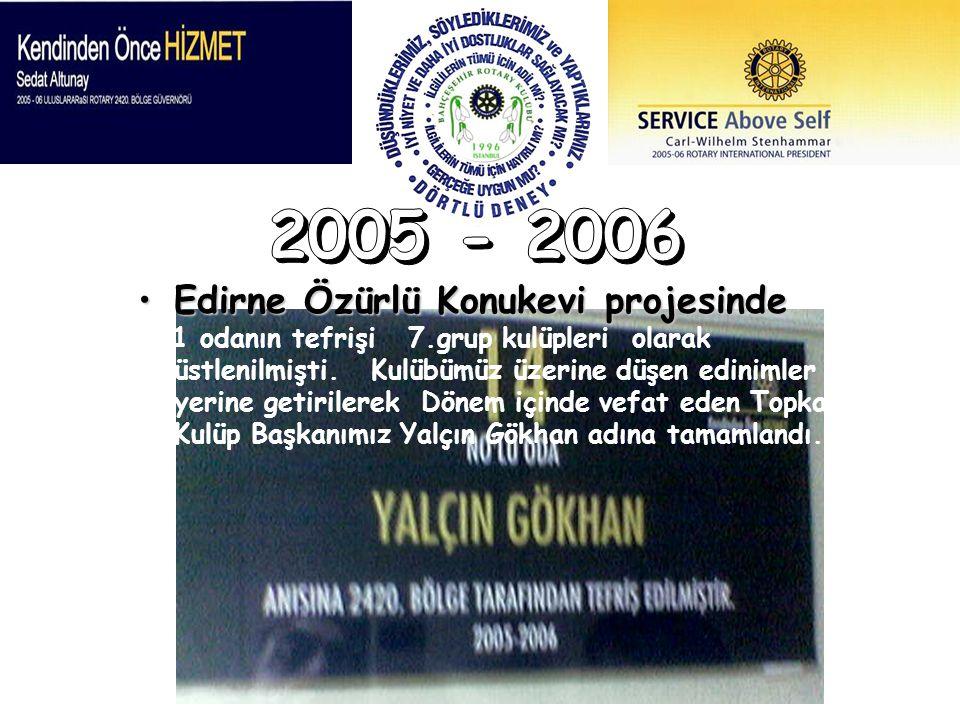 Edirne Özürlü Konukevi projesindeEdirne Özürlü Konukevi projesinde 1 odanın tefrişi 7.grup kulüpleri olarak üstlenilmişti. Kulübümüz üzerine düşen edi