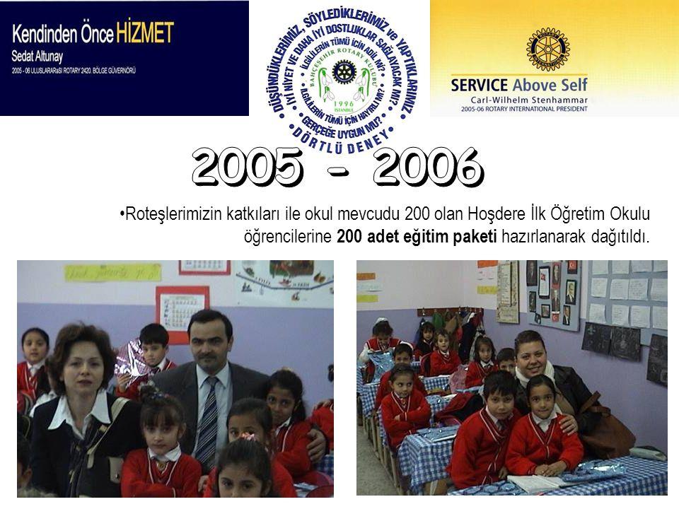 Roteşlerimizin katkıları ile okul mevcudu 200 olan Hoşdere İlk Öğretim Okulu öğrencilerine 200 adet eğitim paketi hazırlanarak dağıtıldı.