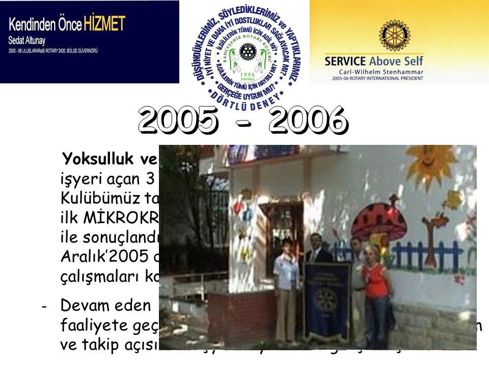 Yoksulluk ve açlık Programı kapsamında geçen dönem işyeri açan 3 kişilik grup için geçtiğimiz dönem Kulübümüz tarafından başlatılan Rotary Ailesi için