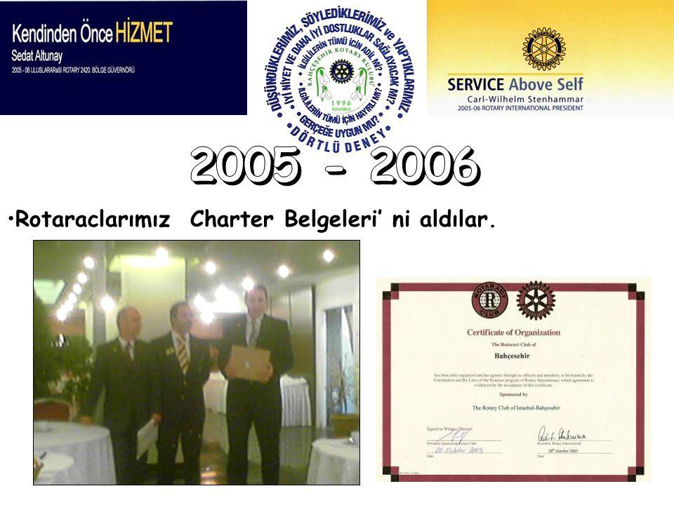 - Rotaraclarımız Charter Belgeleri' ni aldılar.