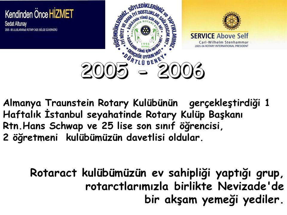 Almanya Traunstein Rotary Kulübünün gerçekleştirdiği 1 Haftalık İstanbul seyahatinde Rotary Kulüp Başkanı Rtn.Hans Schwap ve 25 lise son sınıf öğrenci