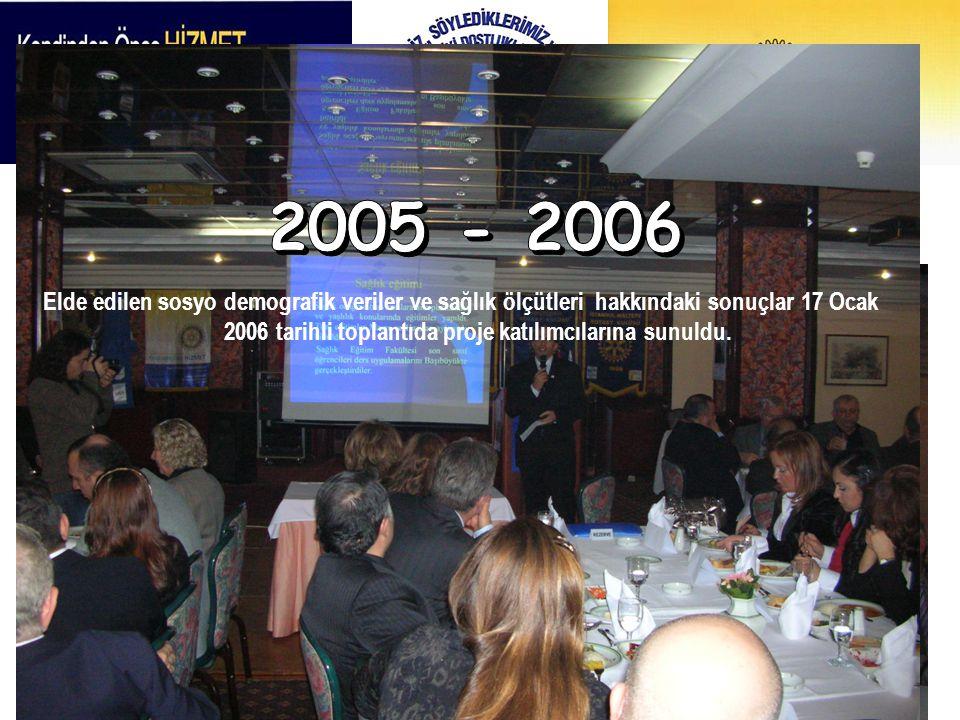 Elde edilen sosyo demografik veriler ve sağlık ölçütleri hakkındaki sonuçlar 17 Ocak 2006 tarihli toplantıda proje katılımcılarına sunuldu.