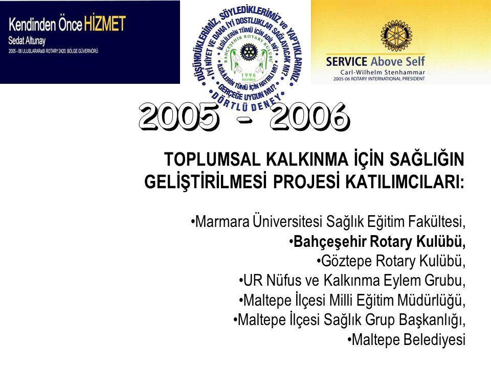 TOPLUMSAL KALKINMA İÇİN SAĞLIĞIN GELİŞTİRİLMESİ PROJESİ KATILIMCILARI: Marmara Üniversitesi Sağlık Eğitim Fakültesi, Bahçeşehir Rotary Kulübü, Göztepe