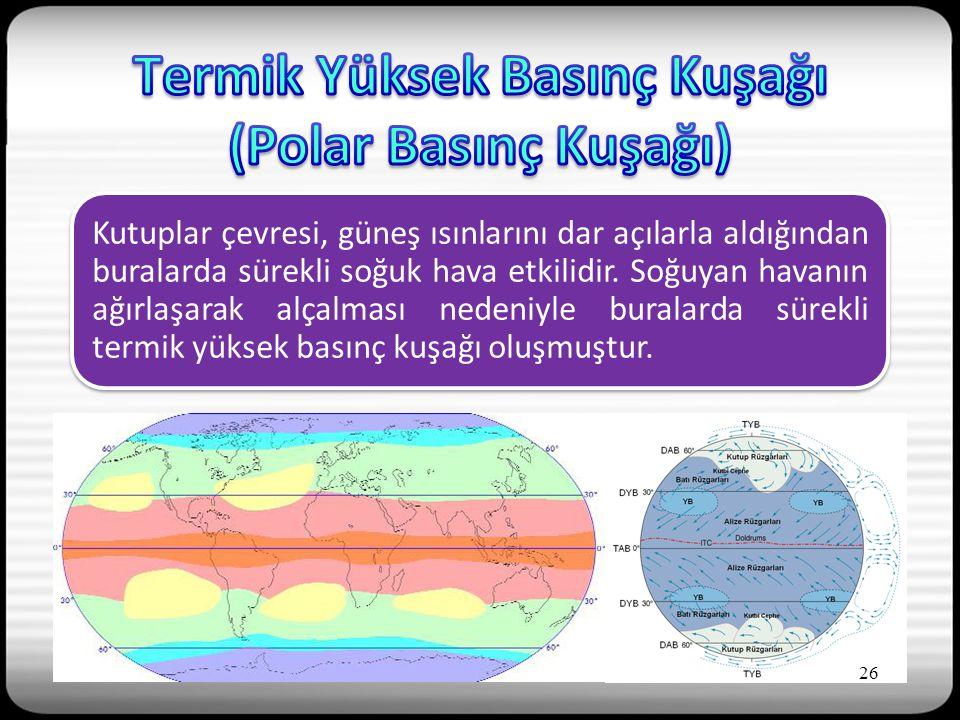 Kutuplar çevresi, güneş ısınlarını dar açılarla aldığından buralarda sürekli soğuk hava etkilidir.