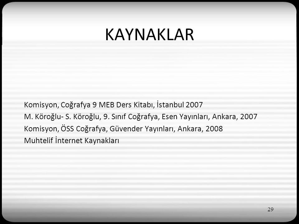 KAYNAKLAR Komisyon, Coğrafya 9 MEB Ders Kitabı, İstanbul 2007 M.