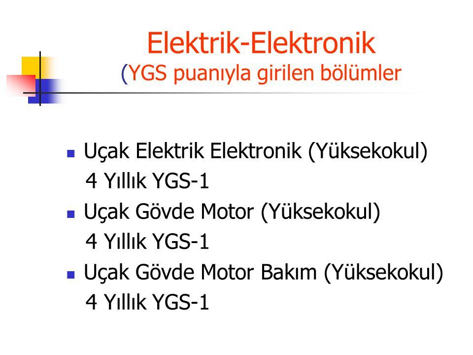 Elektrik-Elektronik (YGS puanıyla girilen bölümler Uçak Elektrik Elektronik (Yüksekokul) 4 Yıllık YGS-1 Uçak Gövde Motor (Yüksekokul) 4 Yıllık YGS-1 U